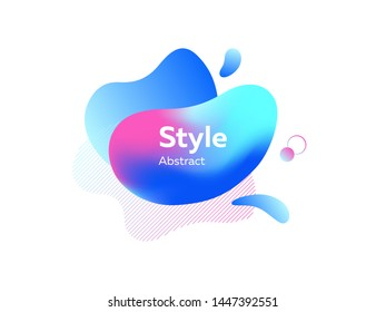 Vivid gradient abstract graphic elements with splashes. Creative art background. Dynamic effect. Futuristic technology style. Motion