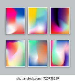 Vivid Gradient Backgrounds. Set of vector colorful posters