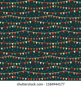 Vivid 'hello carnival' vector pattern with confetti and banderols, seamless repeat design. Bright colours on dark background, great contrast. Ideal for gift wrapping paper, scrapbooking, textiles etc.