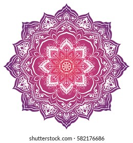 Vivid mandala. Round Ornament Pattern. Geometric circle element made in vector. Spiritual and ritual symbol of Islam, Arabic, Indian religions.  Oriental motifs.