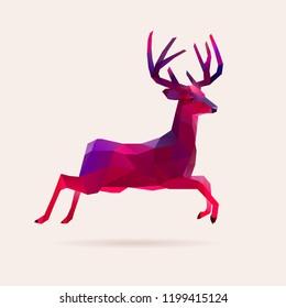Vivid neon holographic christmas vector deer, reindeer illustration