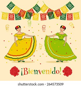 "vivid poster template with illustration of mexican carnival: traditional dressed women, mexican cut flags and spanish ""bienvenido"" text which is translated as ""welcome"""