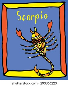 Vivid Scorpio horoscope sign vectorized hand draw