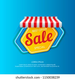Vivid sticker with striped tent showing best special offer and sale on bright blue background