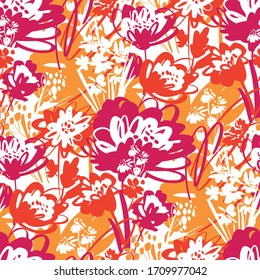 Vivid summer colors shabby chaotic meadow flower seamless pattern. Hand drawn tropical floral vector tile rapport for background, fabric, textile, wrap, surface, web and print design.