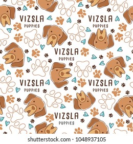 Vizsla : Dog breed collection : Seamless Pattern : Vector Illustration