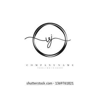 VJ initial handwriting logo template vector