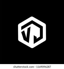 VJ Initial letter hexagonal logo vector