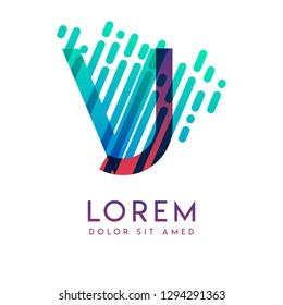 VJ logo with the theme of galaxy speed and style that is suitable for creative and business industries. JV Letter Logo design for all webpage media and mobile, simple, modern and colorful