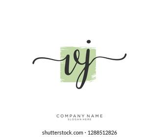 VJ V J Initial handwriting logo template