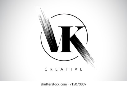VK Brush Stroke Letter Logo Design. Black Paint Logo Leters Icon with Elegant Circle Vector Design.