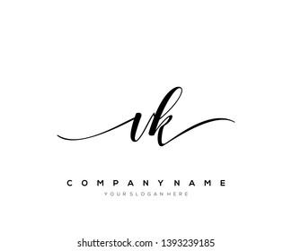 VK handwriting initial  logo vector