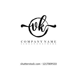 VK initial handwriting logo circle template vector
