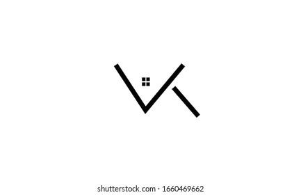VK KV abstract vector logo monogram template