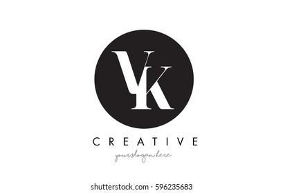 VK Letter Logo Design with Black Circle and Serif Font Vector Illustration.