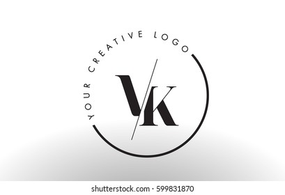 VK Letter Logo Design with Creative Intersected and Cutted Serif Font.