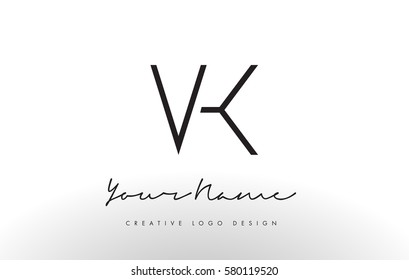 VK Letters Logo Design Slim. Simple and Creative Black Letter Concept Illustration.