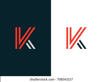 VK Line Logo Concept. Letters V & K Linear Design. Trendy Minimal Line Logotype. Graphic Alphabet Symbol for Corporate Business Identity. Creative Outline Vector element