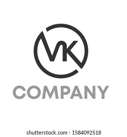 vk logo icon design template sign