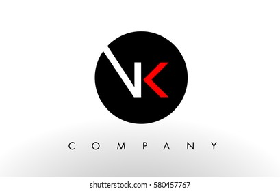 VK Logo.  Letter Design Vector with Red and Black Colors.