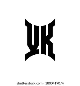 VK monogram logo with curved side design template