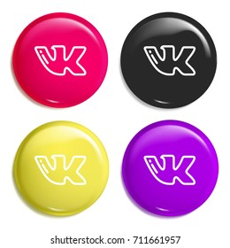 VK multi color glossy badge icon set. Realistic shiny badge icon or logo mockup