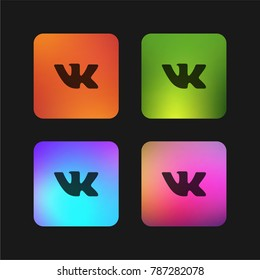Vk social logotype four color gradient app icon design