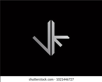 VK square shape silver color logo
