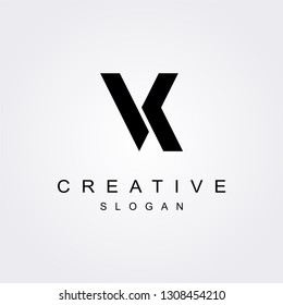 VK V K letter logo with bold shapes and luxury icon. Initial logo concept vector.