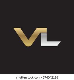 VL company linked letter logo golden silver black background