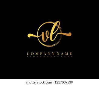 VL initial handwriting logo circle template vector