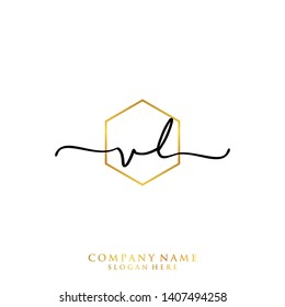 VL Initial handwriting logo template