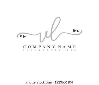 VL Initial handwriting logo vector