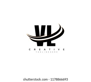 VL Letter Creative Modern Monogram Elegant Three Swoosh Logo