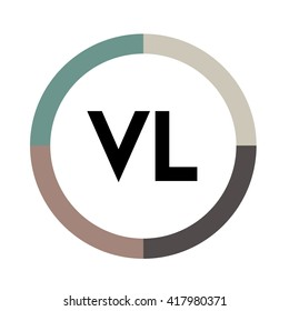 VL letter, four colors in abstract background logo, design identity in circle, alphabet letter