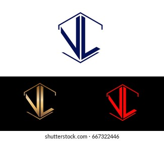 VL letters linked with hexagon shape logo