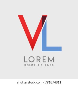 "VL logo letters with ""blue and red"" gradation"