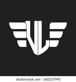 VL Logo monogram with emblem and wings element design template