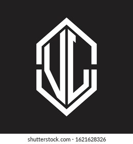 VL Logo monogram with hexagon shape and outline slice style with black and white