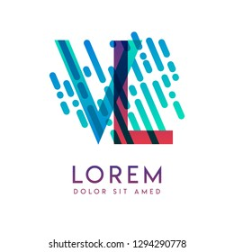VL logo with the theme of galaxy speed and style that is suitable for creative and business industries. LV Letter Logo design for all webpage media and mobile, simple, modern and colorful