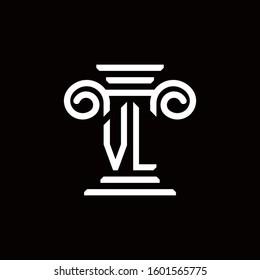 VL monogram logo with pillar style design template