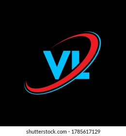 VL V L letter logo design. Initial letter VL linked circle uppercase monogram logo red and blue. VL logo, V L design. vl, v l