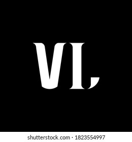 VL V L letter logo design. Initial letter VL linked circle uppercase monogram logo white color. VL logo, V L design. VL, V L