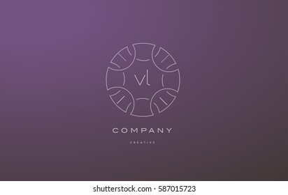 vl v l monogram lineart vintage retro flower alphabet company letter logo lowercase design creative vector icon template