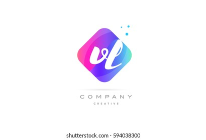 vl v l  pink blue rhombus abstract 3d alphabet company letter text logo hand writting written design vector icon template