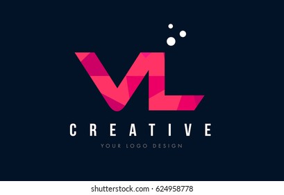 VL V L Purple Letter Logo Design with Low Poly Pink Triangles Concept