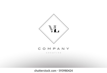 vl v l  retro vintage black white alphabet company letter logo line design vector icon template
