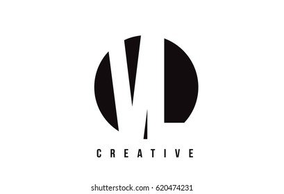 VL V L White Letter Logo Design with Circle Background Vector Illustration Template.
