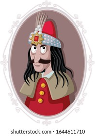 Vlad III Dracula Tepes Vector Caricature. Romanian prince how inspired scary horror legend