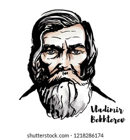 Vladimir Bekhterev watercolor vector portrait with ink contours. Russian neurologist and the father of objective psychology.
